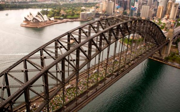 The Sydney Harbour Bridge becomes a giant park for the day.