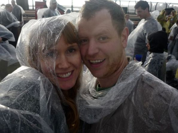 Paul and I looking mighty fly in our ponchos