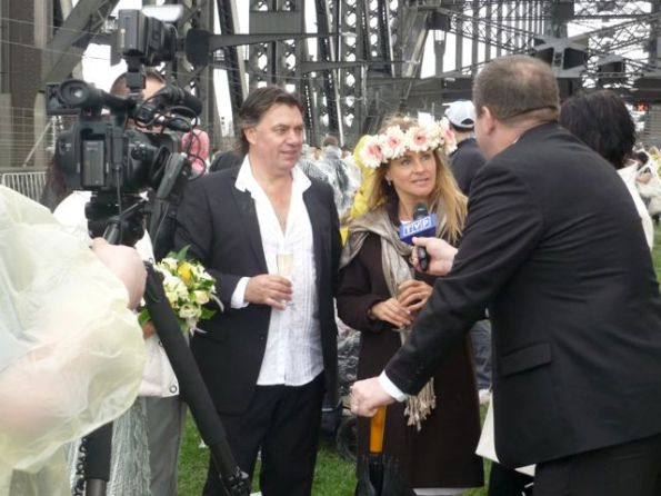 A couple tying the knot on the Sydney Harbour Bridge.