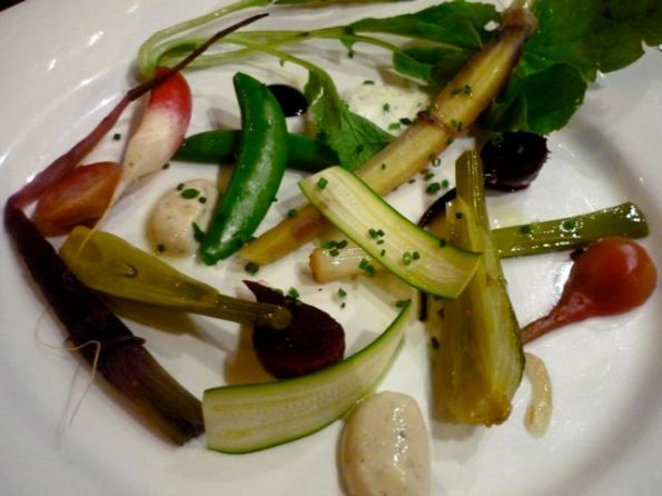 Selection of local little vegetables with accompaniments