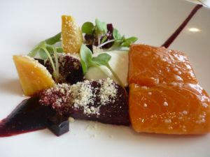 Lightly smoked confit ocean trout, baby beetroot salad, natural yoghurt, almonds