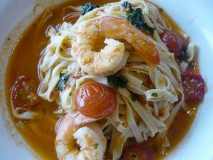 Tagliatelle, spencer gulf prawns, chilli, basil, tomato and shellfish broth