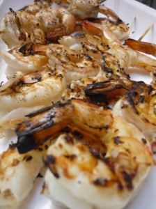 Barbecue prawns in Asian marinade