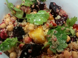 Quinoa salad with roasted beets, chickpeas and orange