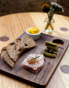Duck liver pate and cornichons
